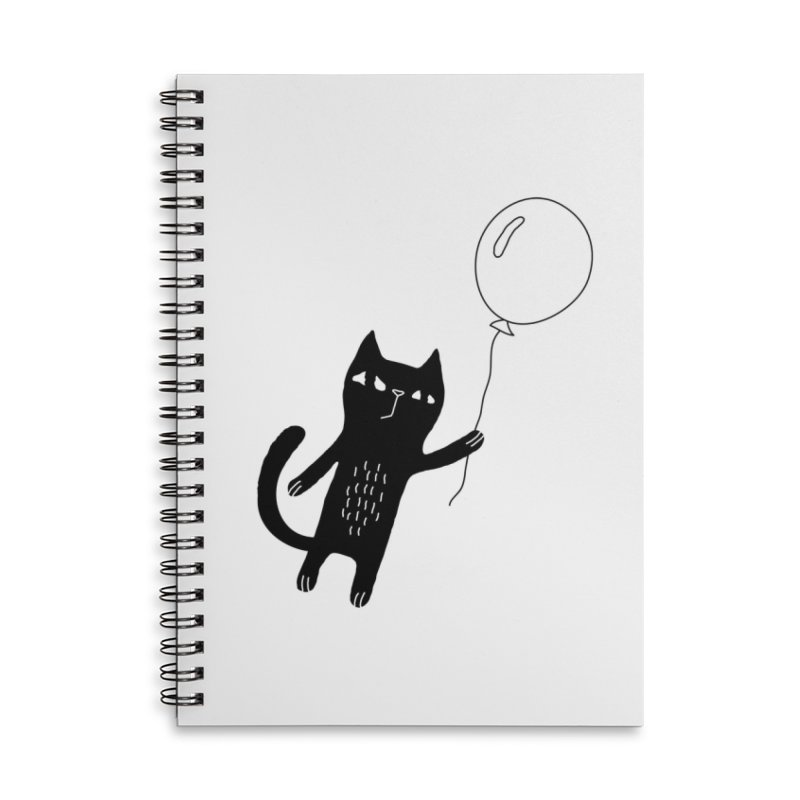 Flying Cat Accessories Lined Spiral Notebook by PENARULIT illustration