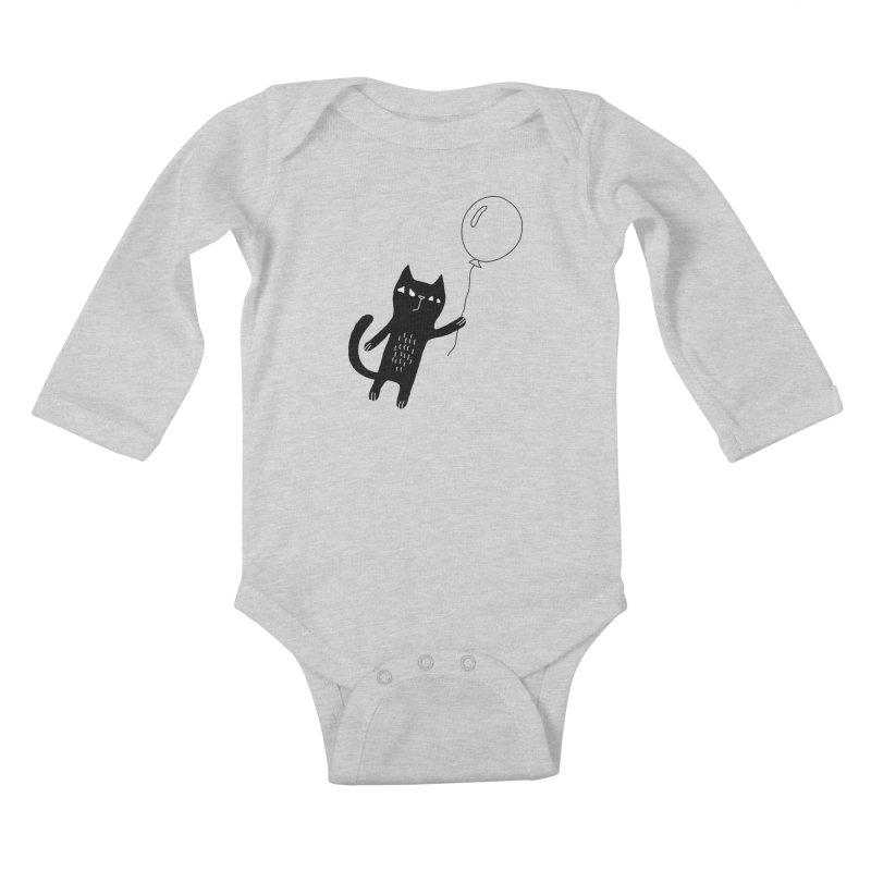 Flying Cat Kids Baby Longsleeve Bodysuit by PENARULIT's Artist Shop