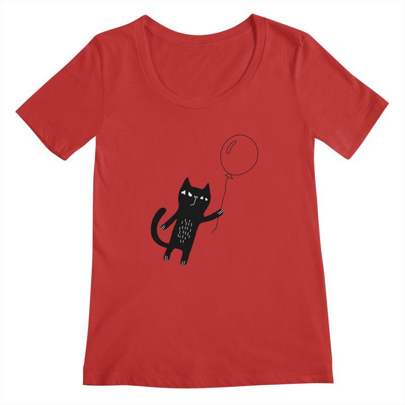 Flying Cat Women's Regular Scoop Neck by PENARULIT's Artist Shop