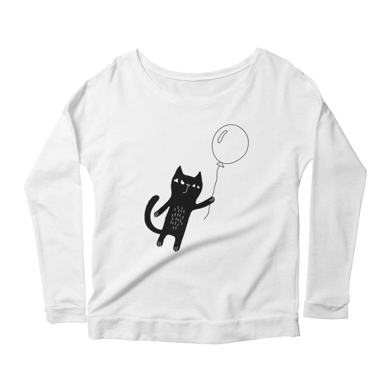 Flying Cat Women's Scoop Neck Longsleeve T-Shirt by PENARULIT's Artist Shop