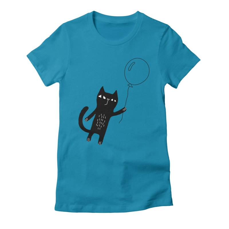 Flying Cat Women's Fitted T-Shirt by PENARULIT's Artist Shop