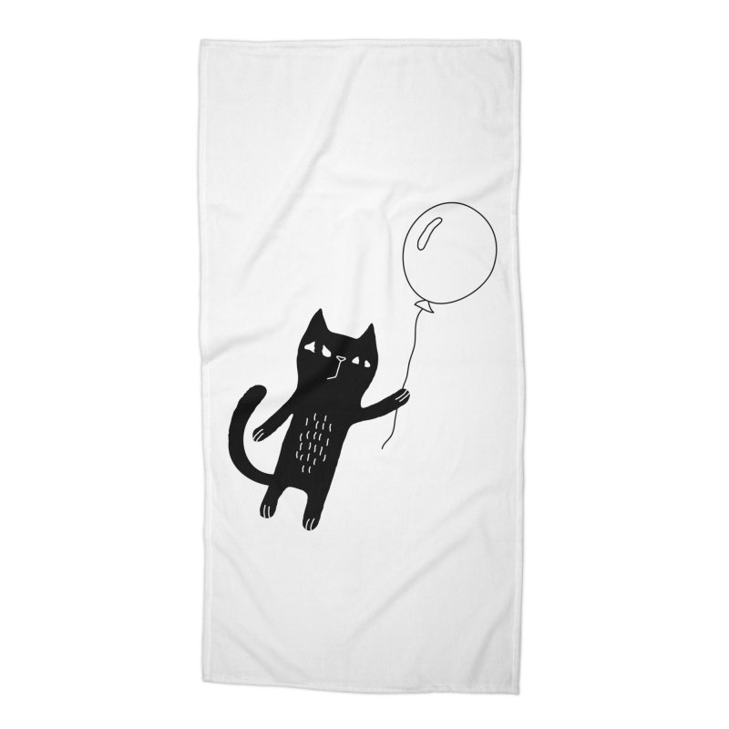 Flying Cat Accessories Beach Towel by PENARULIT illustration