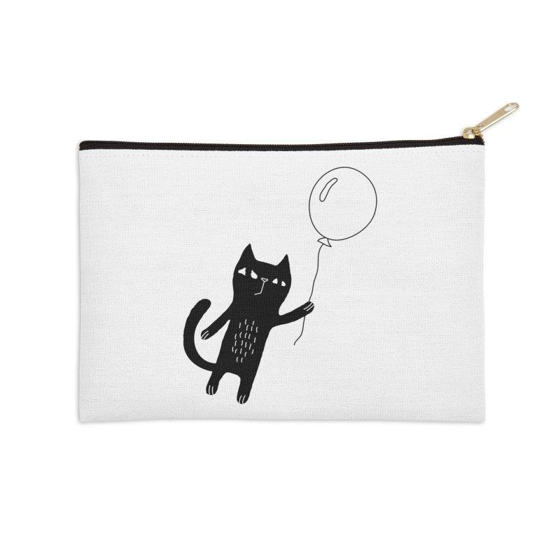 Flying Cat Accessories Zip Pouch by Ekaterina Zimodro's Artist Shop
