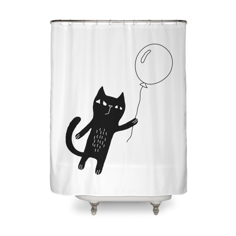 Flying Cat Home Shower Curtain by PENARULIT illustration