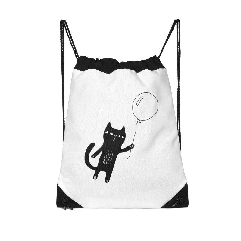 Flying Cat Accessories Drawstring Bag Bag by PENARULIT illustration