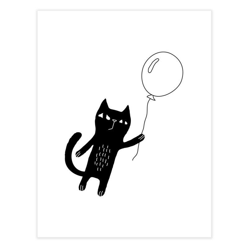 Flying Cat Home Fine Art Print by PENARULIT illustration