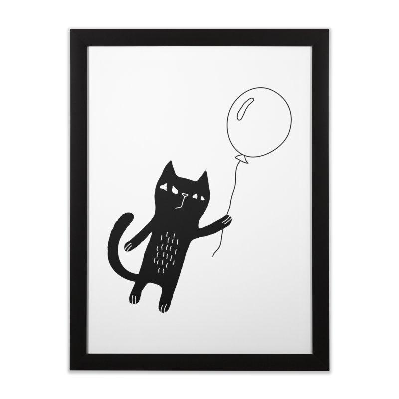 Flying Cat Home Framed Fine Art Print by PENARULIT illustration