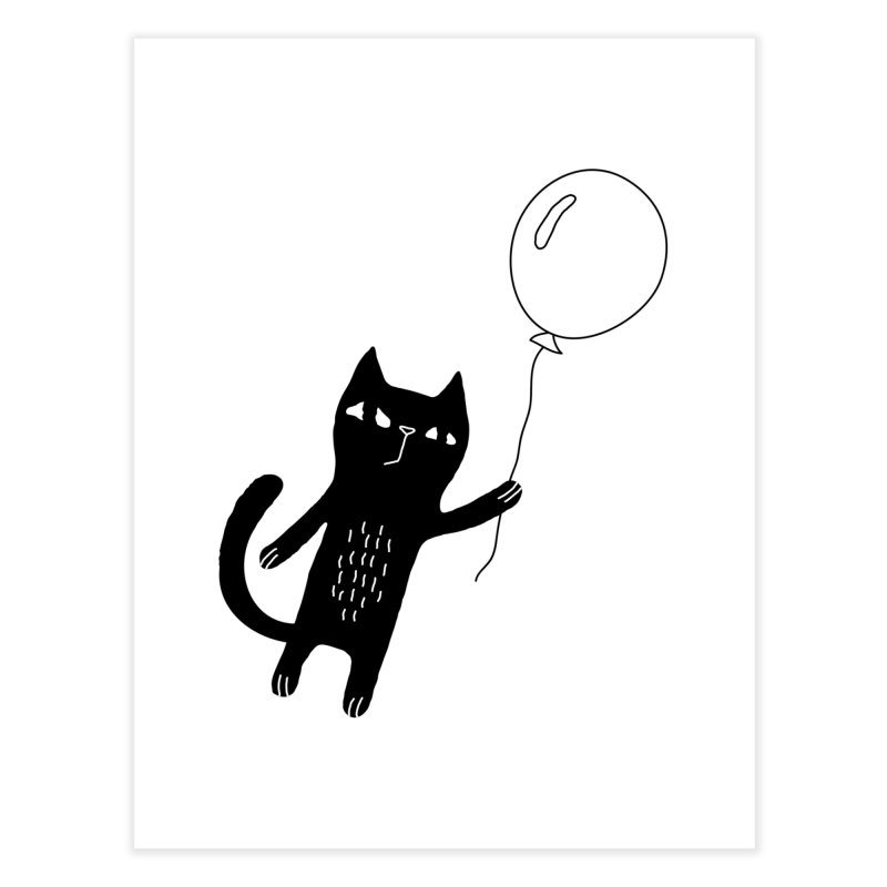 Flying Cat Home Fine Art Print by PENARULIT illustration