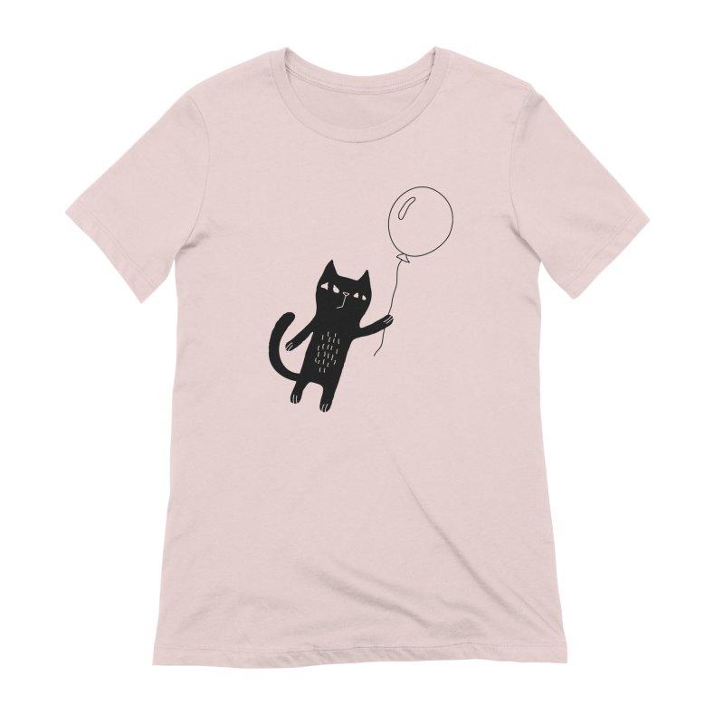 Flying Cat Women's Extra Soft T-Shirt by Ekaterina Zimodro's Artist Shop