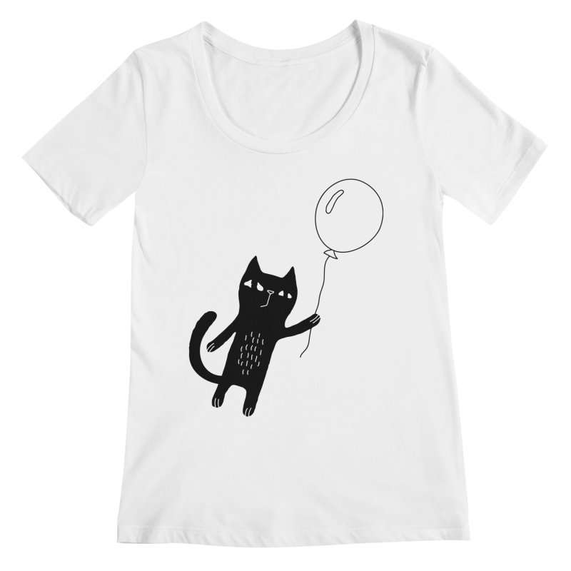 Flying Cat Women's Regular Scoop Neck by Ekaterina Zimodro's Artist Shop