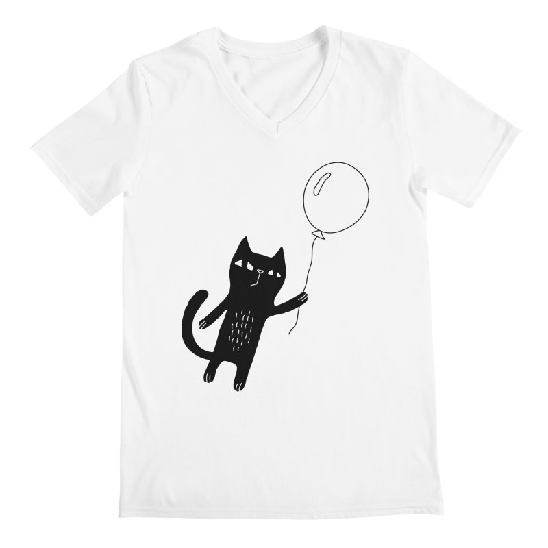 Flying Cat Men's V-Neck by Ekaterina Zimodro's Artist Shop