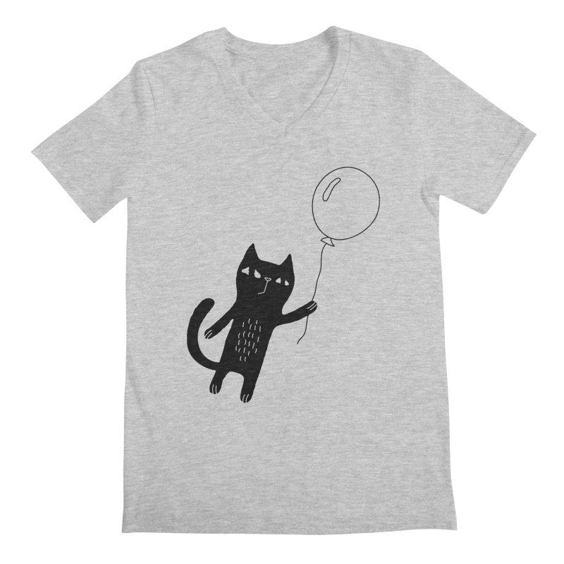Flying Cat Men's Regular V-Neck by PENARULIT illustration