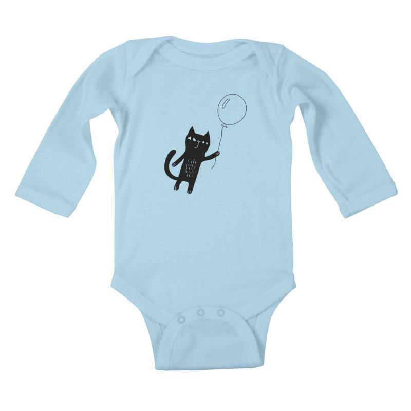 Flying Cat Kids Baby Longsleeve Bodysuit by PENARULIT illustration