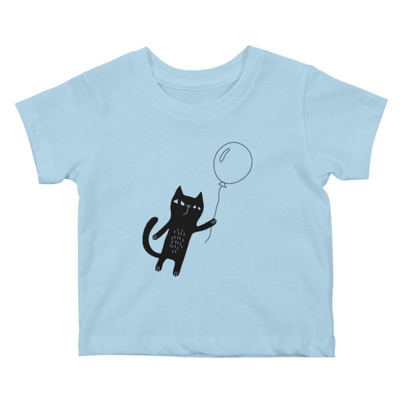 Flying Cat Kids Baby T-Shirt by PENARULIT illustration