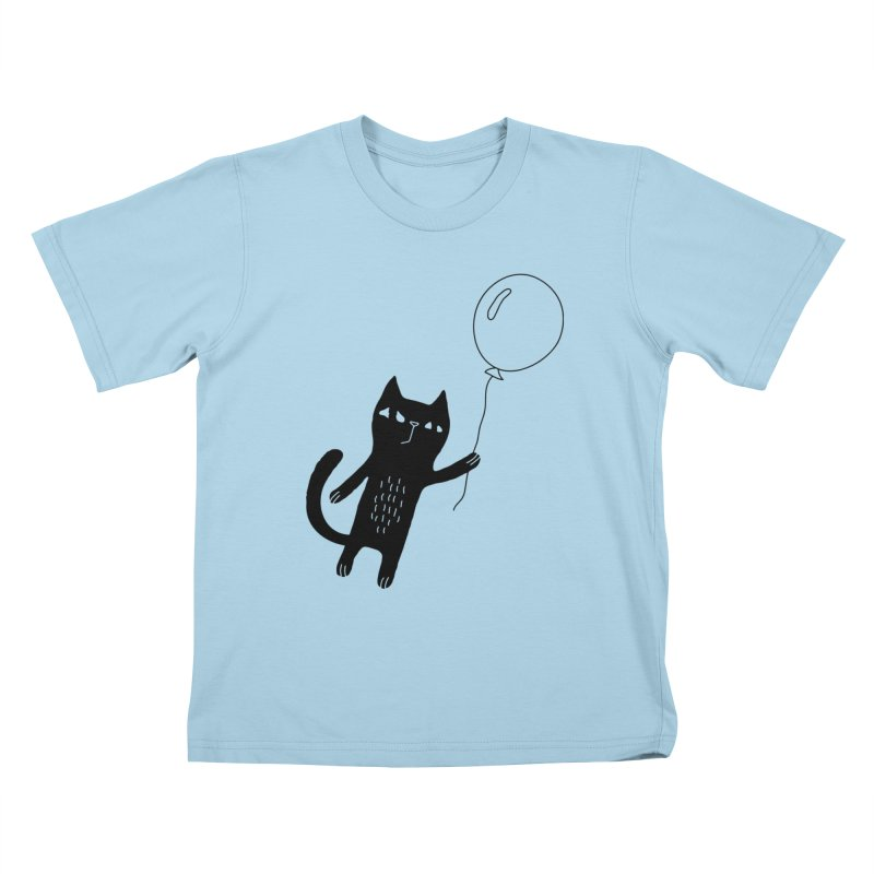 Flying Cat Kids T-Shirt by PENARULIT illustration