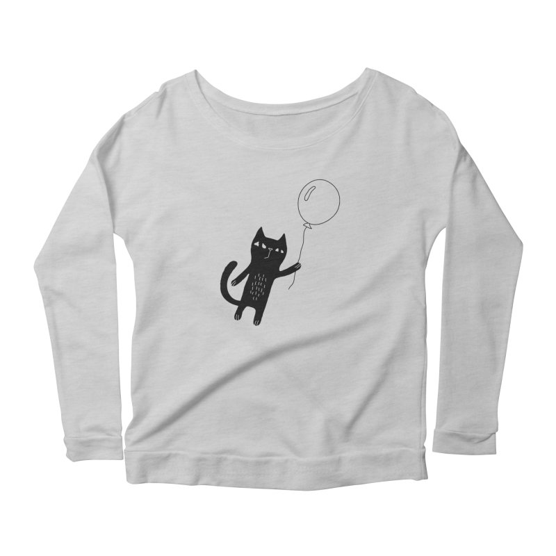 Flying Cat Women's Scoop Neck Longsleeve T-Shirt by PENARULIT illustration