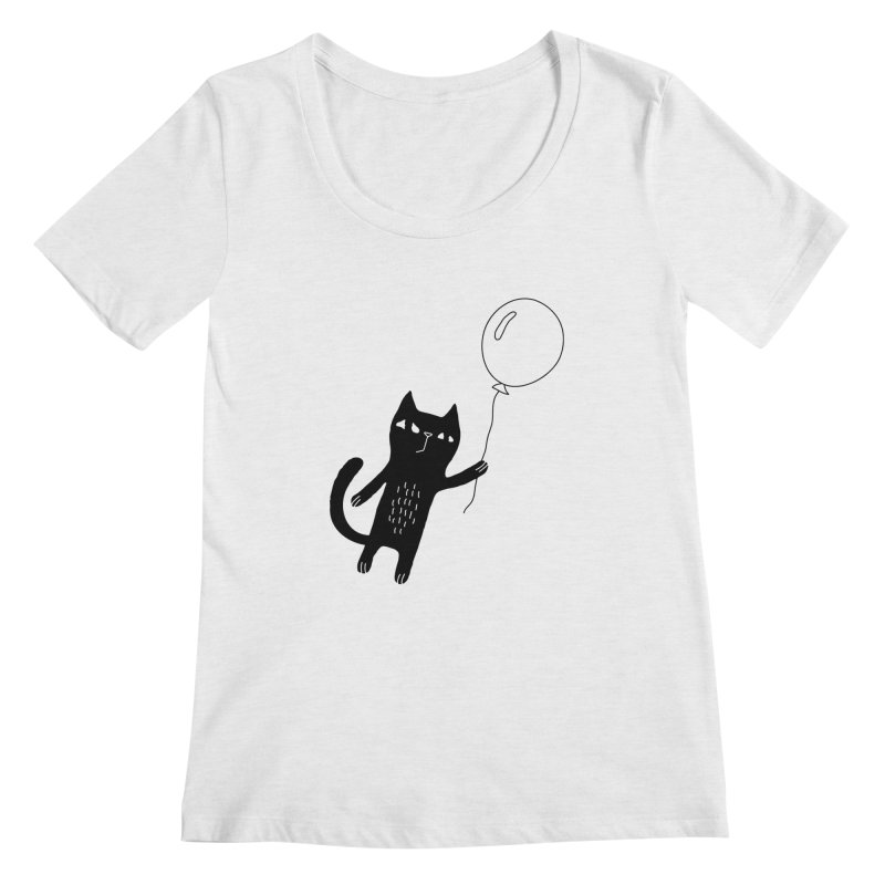 Flying Cat Women's Regular Scoop Neck by PENARULIT illustration