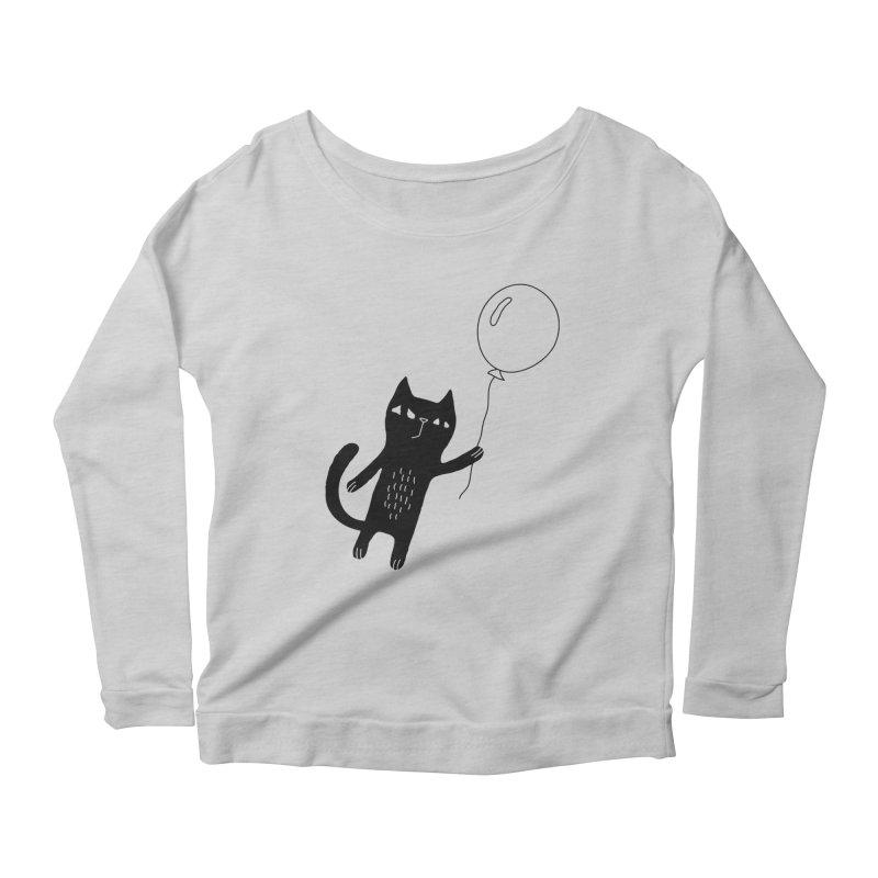 Flying Cat Women's Scoop Neck Longsleeve T-Shirt by PENARULIT illustration
