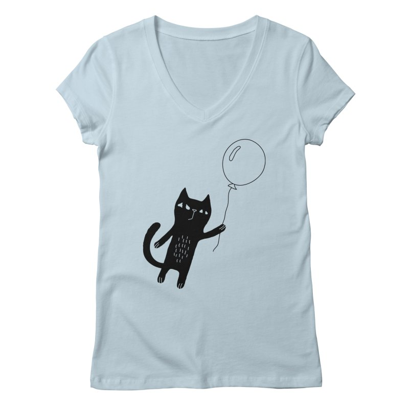 Flying Cat Women's V-Neck by PENARULIT's Artist Shop
