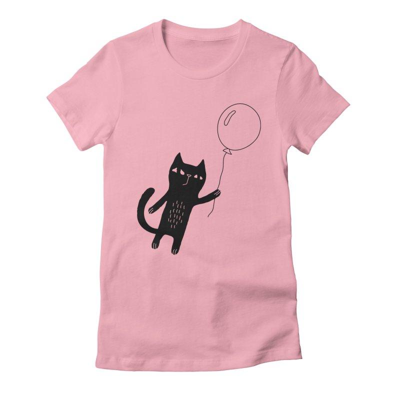 Flying Cat Women's Fitted T-Shirt by Ekaterina Zimodro's Artist Shop