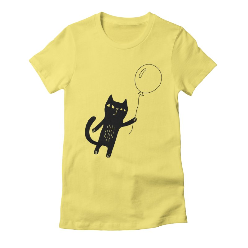 Flying Cat Women's Fitted T-Shirt by PENARULIT illustration