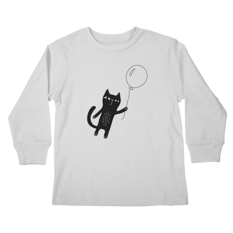 Flying Cat Kids Longsleeve T-Shirt by PENARULIT illustration