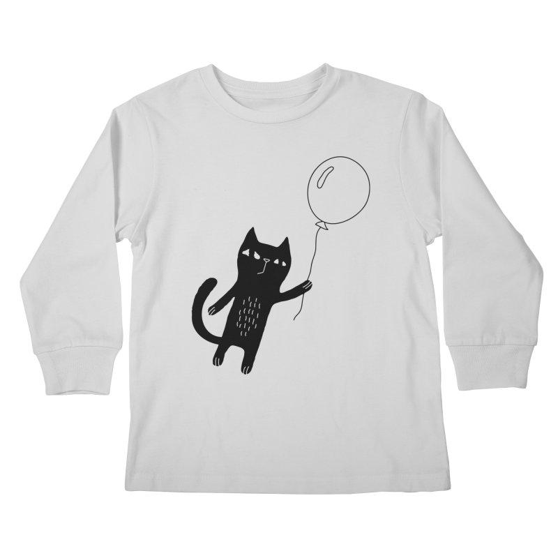 Flying Cat Kids Longsleeve T-Shirt by PENARULIT illustration