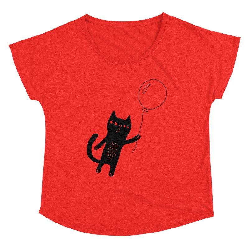 Flying Cat Women's Scoop Neck by Ekaterina Zimodro's Artist Shop