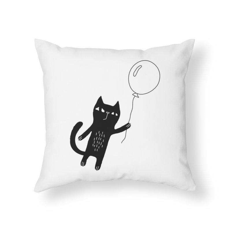 Flying Cat Home Throw Pillow by Ekaterina Zimodro's Artist Shop