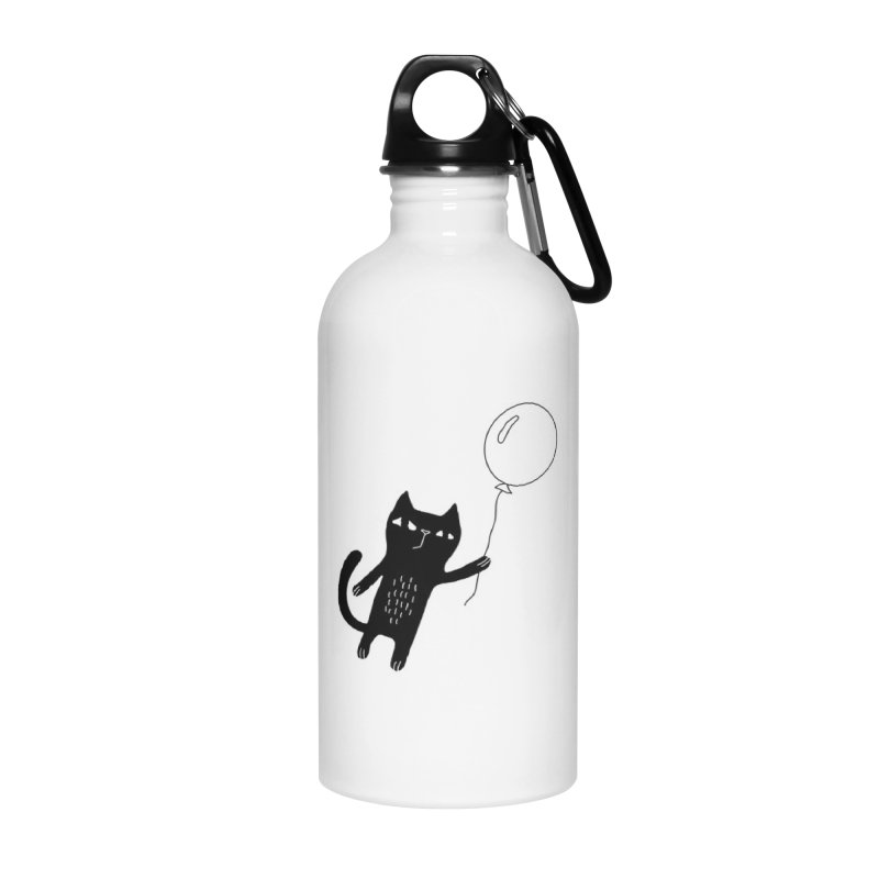 Flying Cat Accessories Water Bottle by PENARULIT illustration