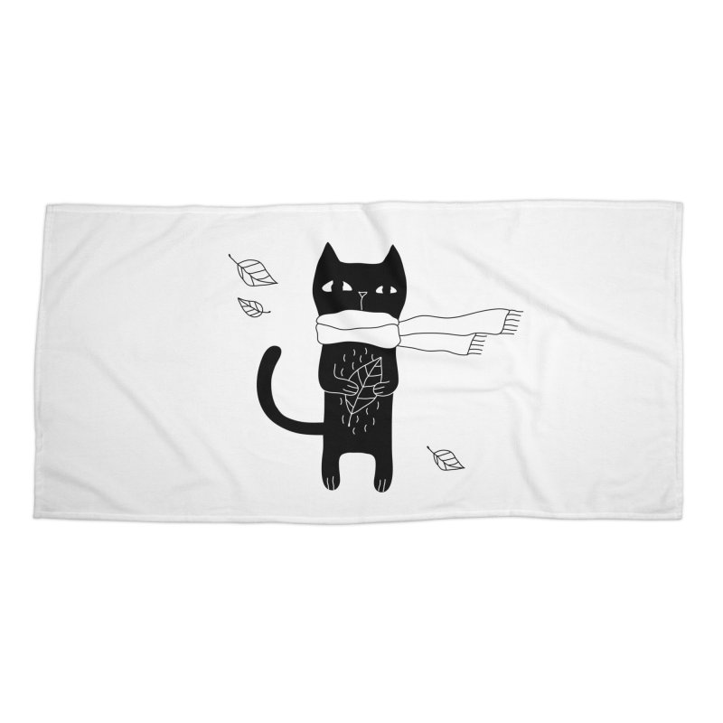Black Cat Accessories Beach Towel by PENARULIT's Artist Shop