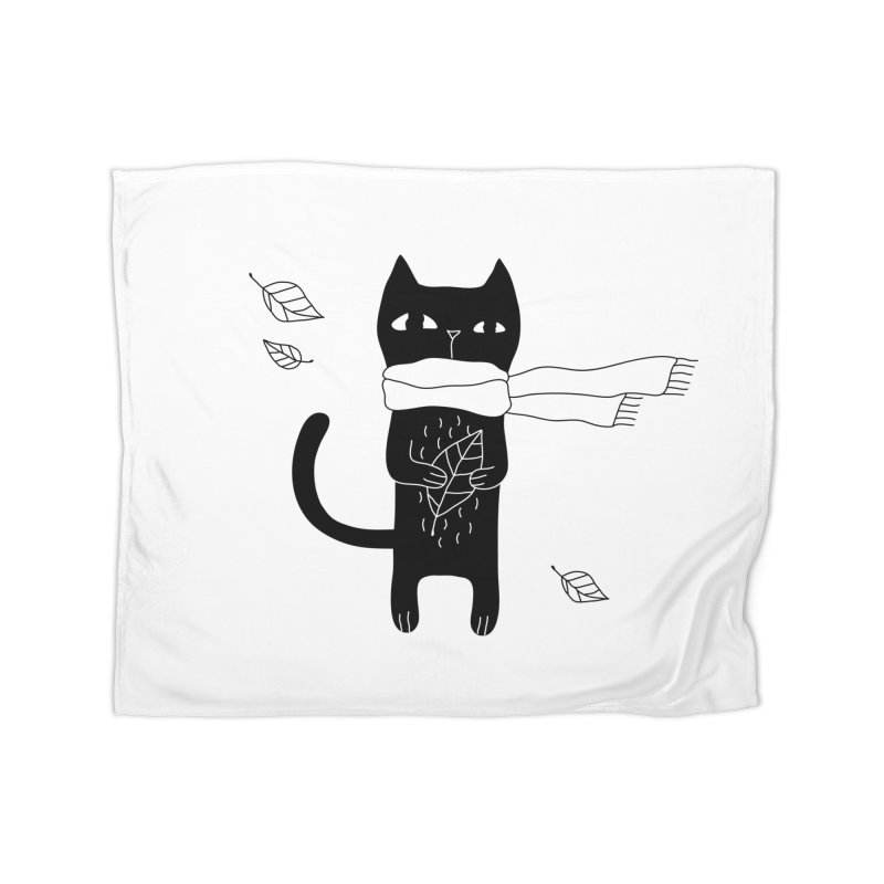 Lonely Cat Home Fleece Blanket Blanket by PENARULIT illustration