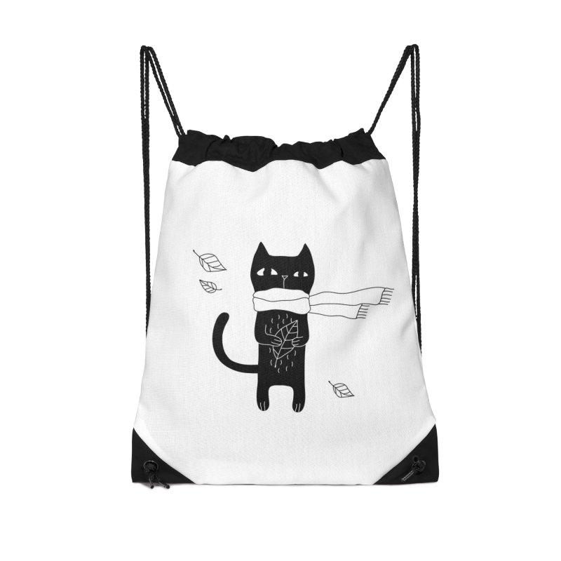 Lonely Cat Accessories Drawstring Bag Bag by PENARULIT illustration