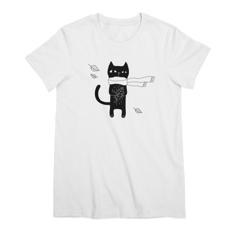 Black Cat Women's Premium T-Shirt by PENARULIT's Artist Shop