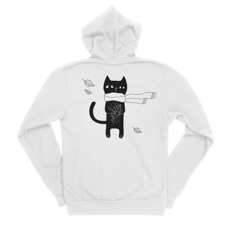 Black Cat Women's Sponge Fleece Zip-Up Hoody by PENARULIT's Artist Shop