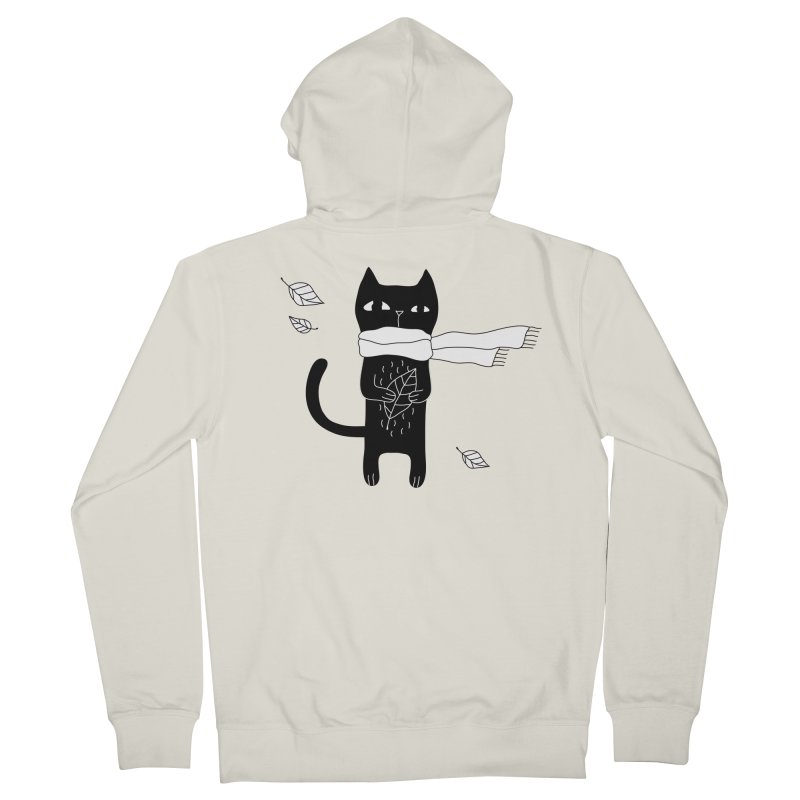 Black Cat Women's French Terry Zip-Up Hoody by PENARULIT's Artist Shop