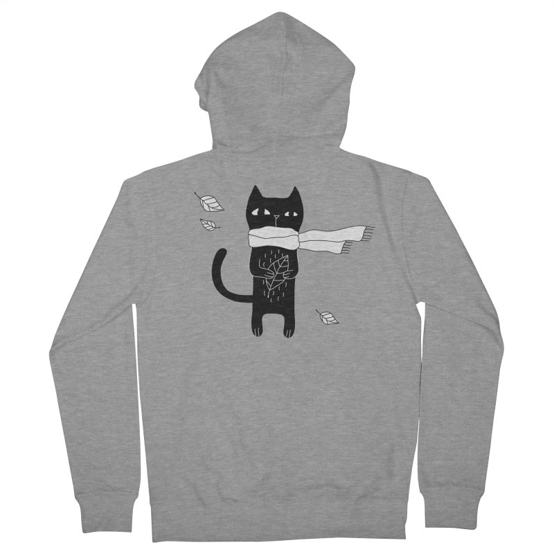 Black Cat Men's French Terry Zip-Up Hoody by PENARULIT's Artist Shop