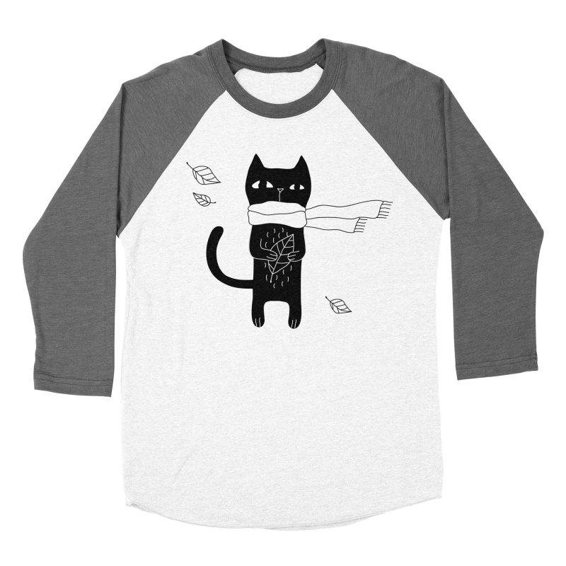Black Cat Women's Baseball Triblend Longsleeve T-Shirt by PENARULIT's Artist Shop