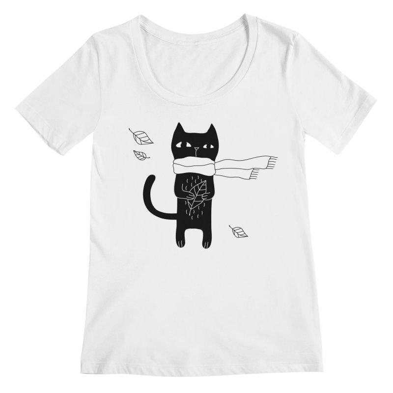 Black Cat Women's Regular Scoop Neck by PENARULIT's Artist Shop