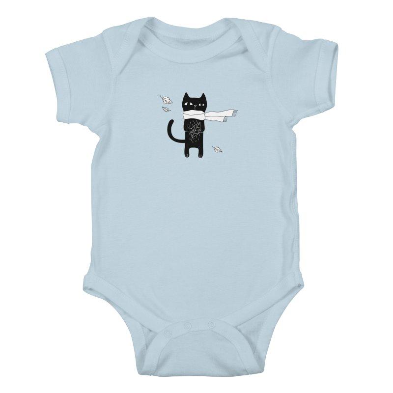 Black Cat Kids Baby Bodysuit by PENARULIT's Artist Shop