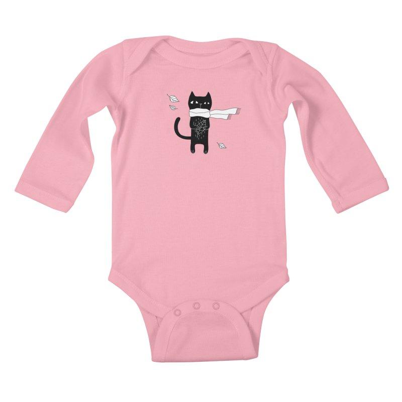 Black Cat Kids Baby Longsleeve Bodysuit by PENARULIT's Artist Shop