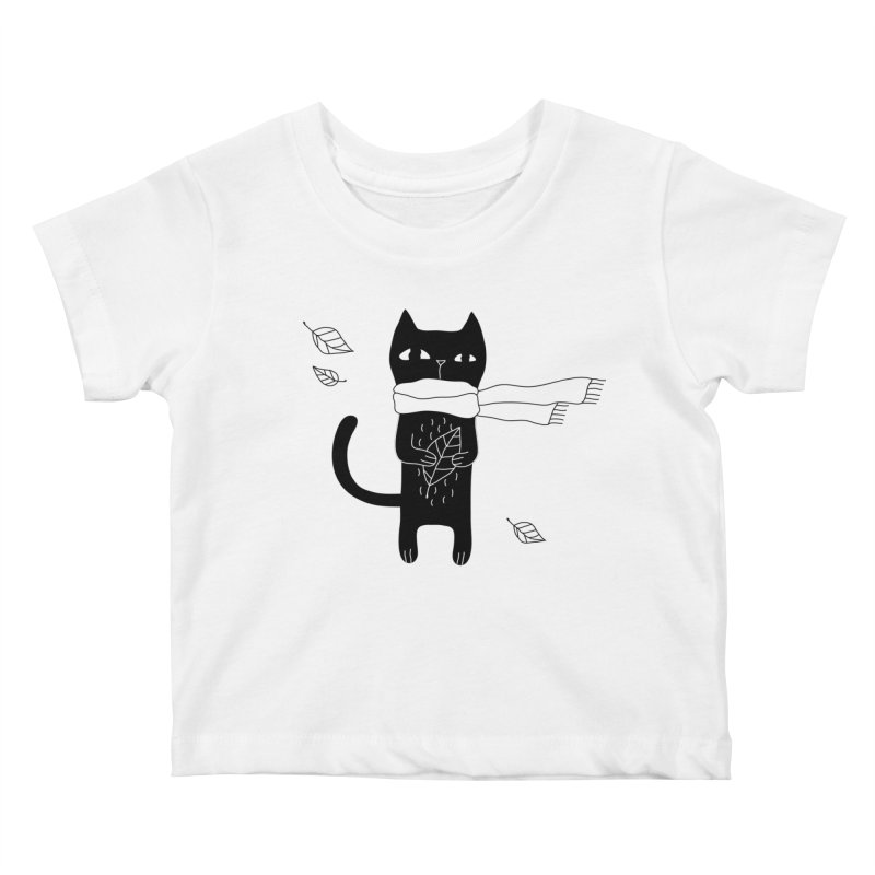 Black Cat Kids Baby T-Shirt by PENARULIT's Artist Shop