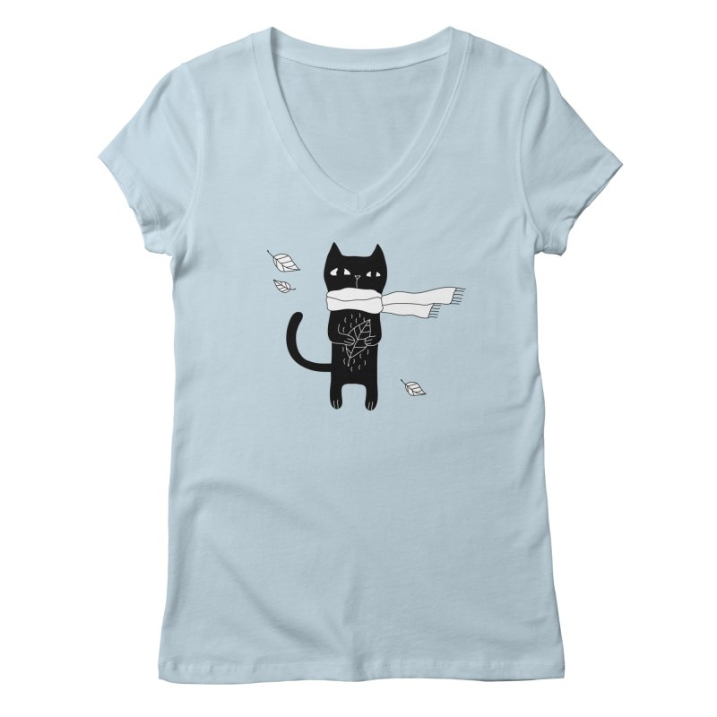 Black Cat Women's Regular V-Neck by PENARULIT's Artist Shop