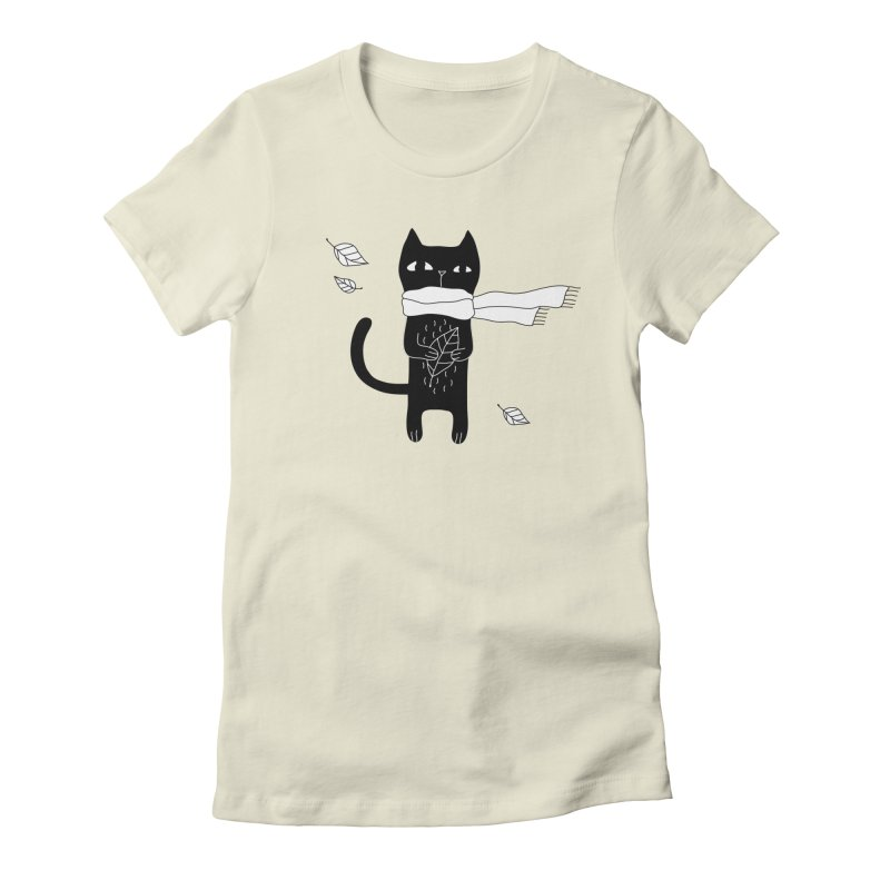 Black Cat Women's Fitted T-Shirt by PENARULIT's Artist Shop
