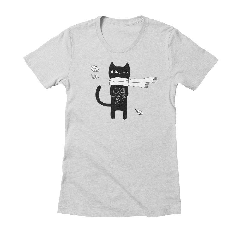 Black Cat Women's Fitted T-Shirt by PENARULIT's Artist Shop