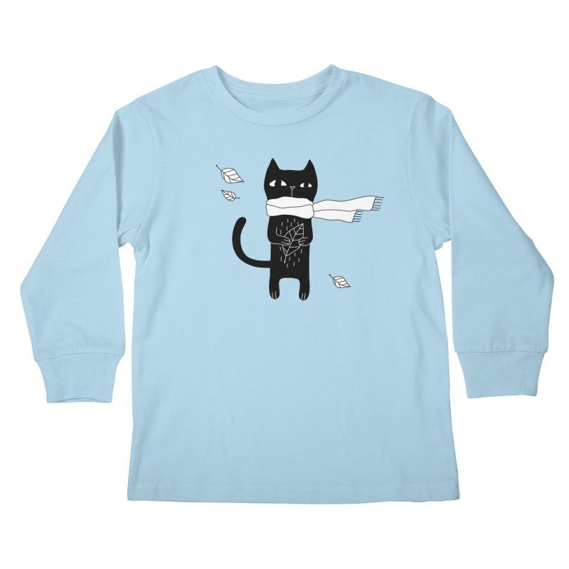 Black Cat Kids Longsleeve T-Shirt by PENARULIT's Artist Shop