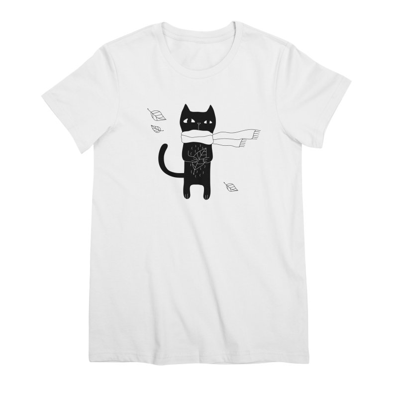 Lonely Cat Women's Premium T-Shirt by PENARULIT illustration