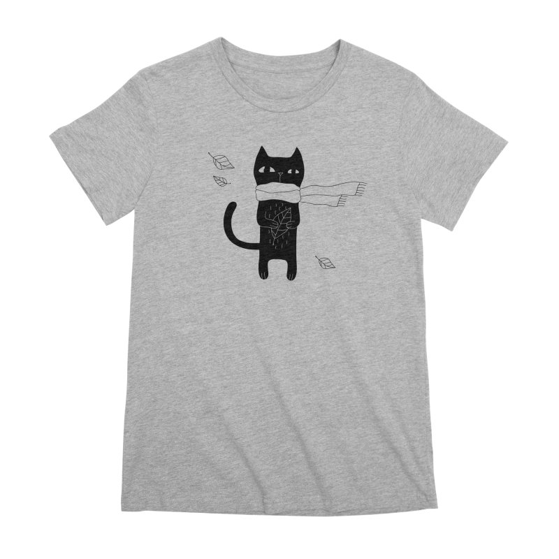 Lonely Cat Women's Premium T-Shirt by PENARULIT illustration