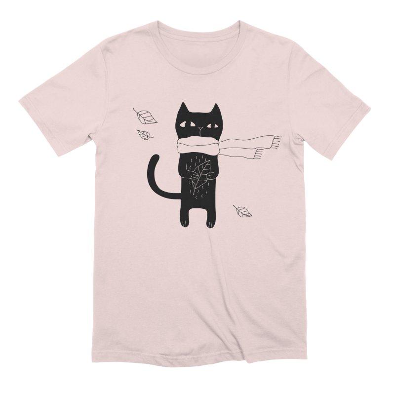Lonely Cat Men's Extra Soft T-Shirt by PENARULIT illustration