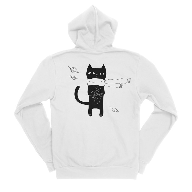 Lonely Cat Women's Sponge Fleece Zip-Up Hoody by PENARULIT illustration